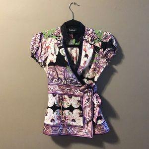 Bebe silk blend boho side tie wrap top